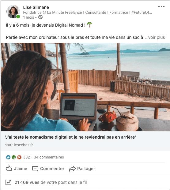 Lise Slimane Digital Nomad Article Les Echos